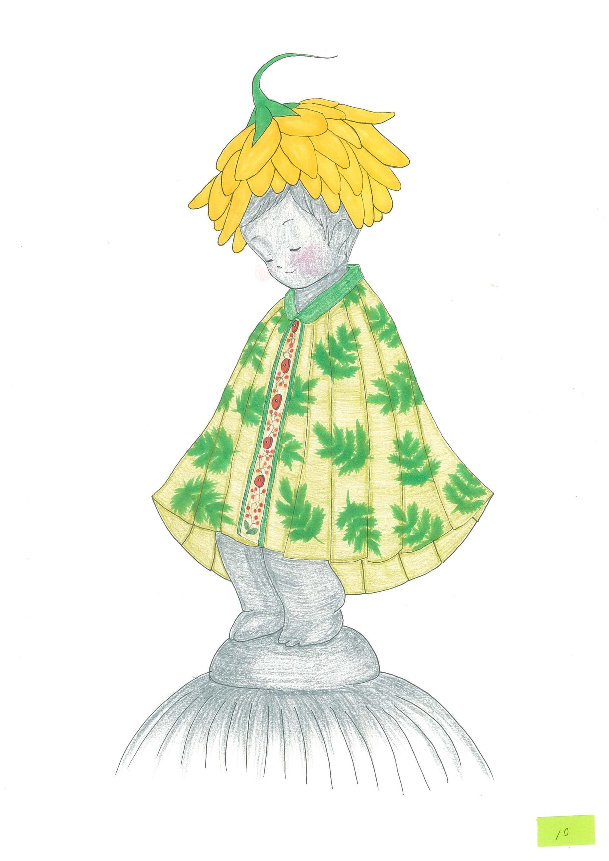 Gambar reka bentuk jubah tahun ini (dibuat oleh Moe Kojima)