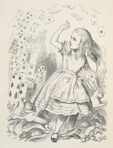 """Un paquet de cartes survolant Alice. / Alice's Adventures in Wonderland. Avec quarante-deux illustrations de John Tenniel. / Dodgson, Charles Lutwidge, pseud. Lewis Carroll / Tenniel, John, Sir / Londres: Macmillan & Co., 1866 [1865] """