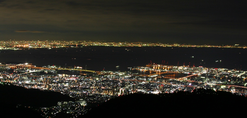 Far from Osaka Bay towards Wakayama (at night)